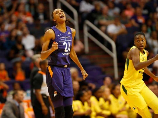 Phoenix Mercury forward DeWanna Bonner (24) reacts