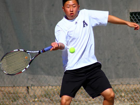 Alamogordo senior Scott Jun was victorious in both singles and doubles play in a dual against Deming on Thursday evening at the Oregon Tennis Courts.