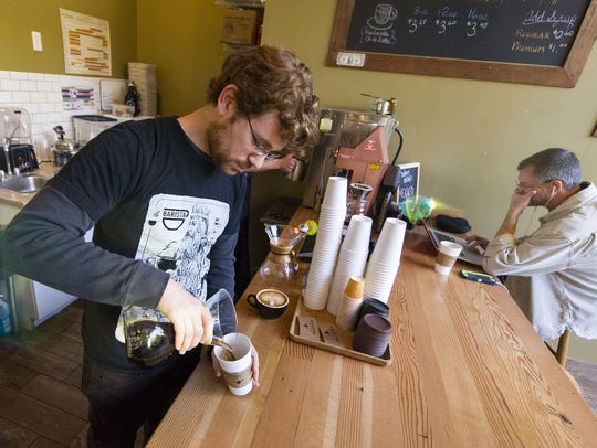 Co-owner of Bee Coffee Roasters in Indianapolis, Andy