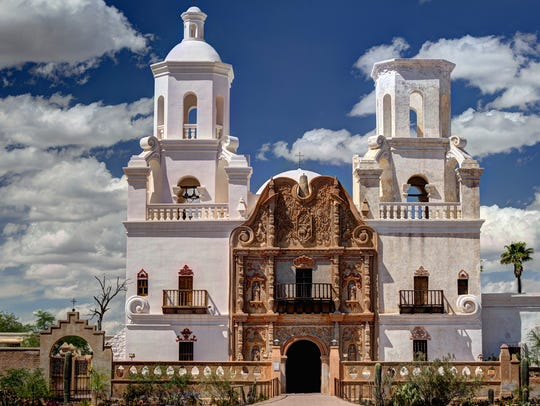 The Mission San Xavier del Bac is noted for its elegant