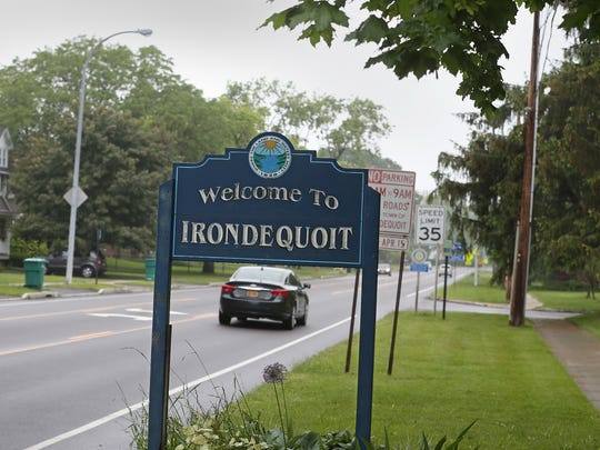 Welcome to Irondequoit along St. Paul Blvd. Monday,