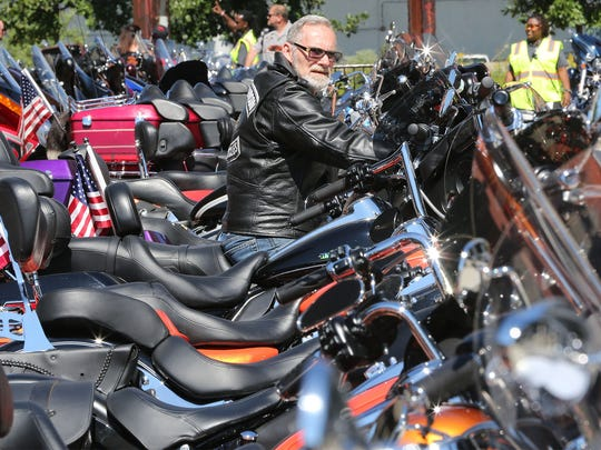 Kenosha rider Leonard Ciskowski gets ready to leave the Harley-Museum after taking in the Milwaukee Rally in 2016.