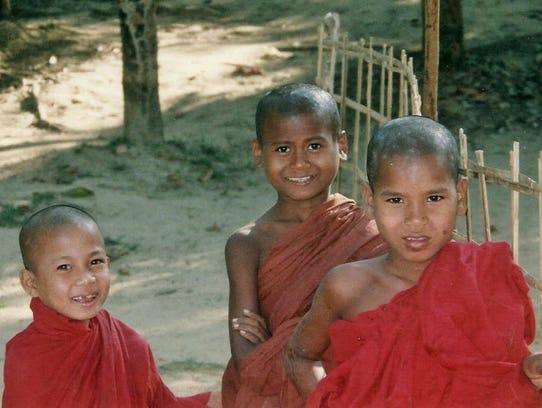 Young Buddhist monks in Rakhine State, Burma.