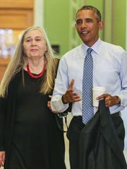 Marilynne Robinson joined President Barack Obama for an interview last year at the State Library in Des Moines.