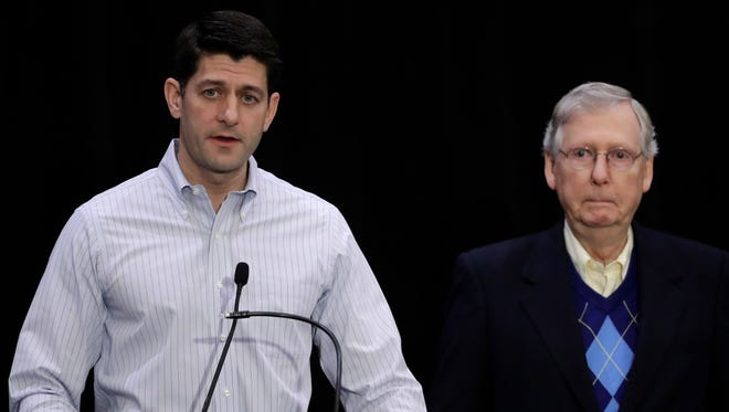 House Speaker Paul Ryan, R-Wis., and Senate Majority Leader Mitch McConnell, R-Ky., speak with members of the media at the Republican congressional retreat in Philadelphia on Jan. 26, 2017.