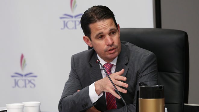 Jefferson County Public Schools Superintendant Marty Pollio spoke during a school board meeting at the VanHoose Education Center.May 9, 2018