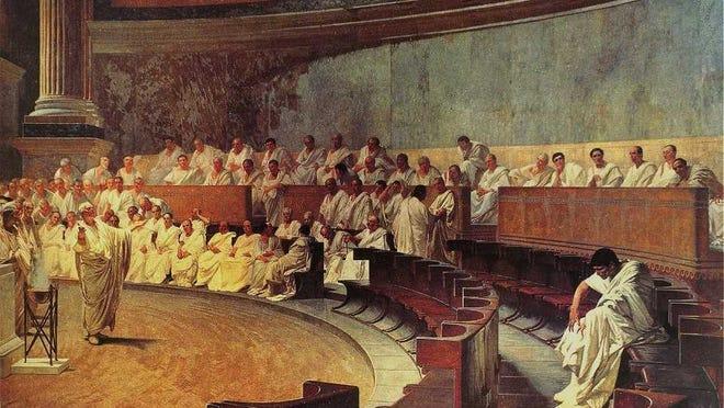 Cicero Denounces Catiline, by Cesare Maccari, 1889.