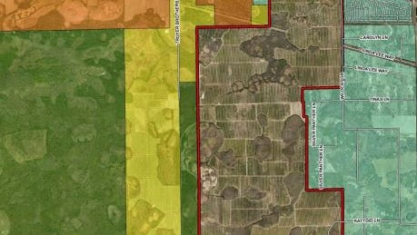 Map showing proposed rock mine in east  Lee County that worries nearby residents. Road at top of site is State Road 82.
