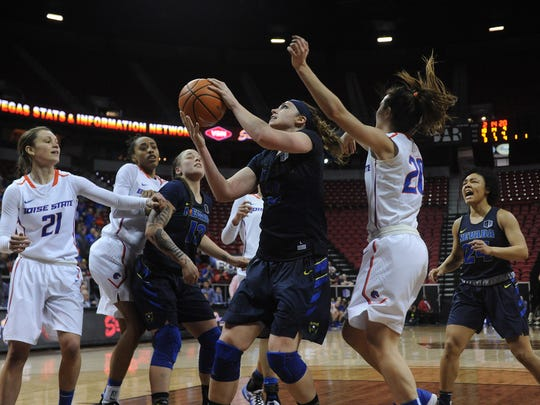 Nevada takes on Boise State during the Mountain West Women's Basketball Championship game at the Thomas & Mack Center in Las Vegas on March 9, 2018.