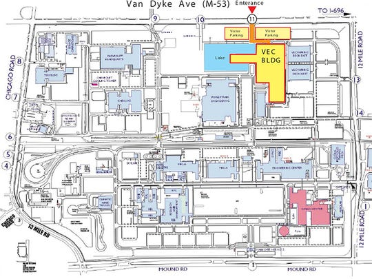 GM Tech Center map