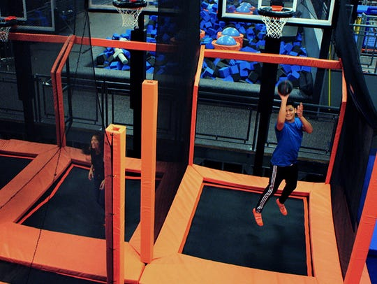 Sky Hoops at Sky Zone allows you to compete against