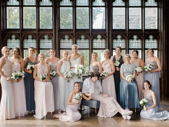 Elena Delle Donne and Amanda Clifton were married Nov. 3. The brides changed into ensembles by BHLDN, which is also what their wedding party wore.