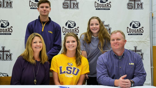 Grace Horton of STM signed with LSU on Wednesday for swimming.