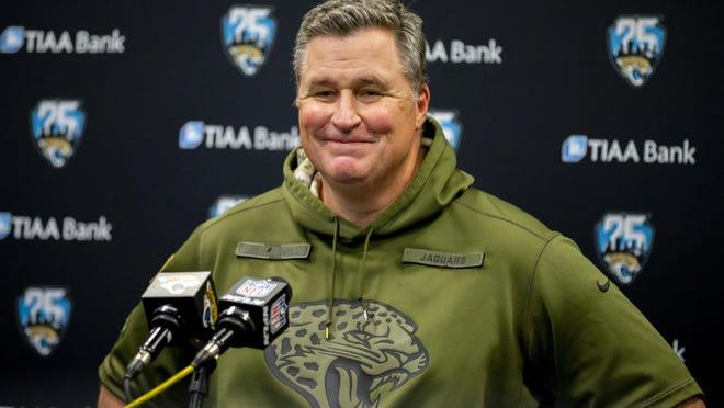 Jacksonville Jaguars head coach Doug Marrone speaks with members of the media after a game against the Indianapolis Colts on Dec. 29, 2019, in Jacksonville, Fla.