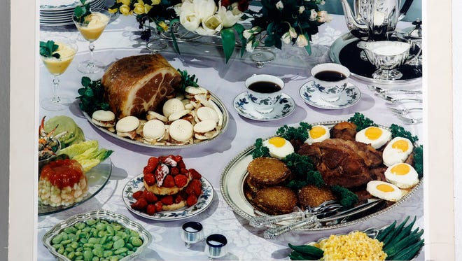Silver platters with biscuits and country ham, fresh strawberries, new spring eggs, and black coffee help define the enduring tradition of a proper and very formal Kentucky Derby breakfast. By H. Harold Davis, The Courier-Journal. May 1, 1960