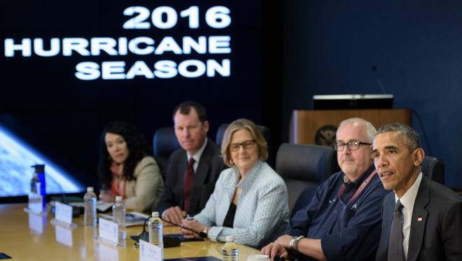 President Obama makes a statement to the press about the hurricane season at the Federal Emergency Management Agency on May 31.