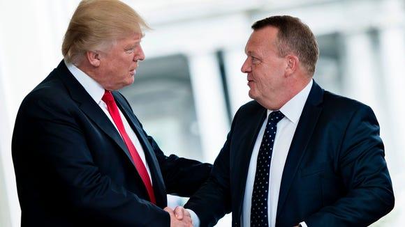 President Trump greets Denmark's prime minister, Lars