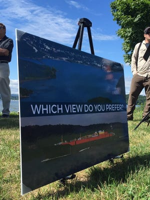 A poster from an Aug. 2 news conference at Cortlandt Waterfront Park in Verplanck in opposition to proposed Hudson River anchorages.