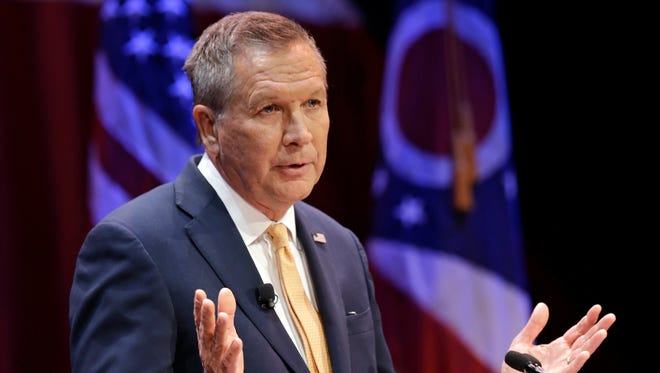 Ohio Gov. John Kasich delivers his State of the State address at the Peoples Bank Theatre on April 6 in Marietta, Ohio.