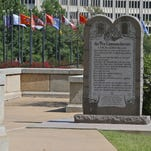 The Ten Commandments Monument is pictured at the state Capitol in Oklahoma City on June 30, 2015.