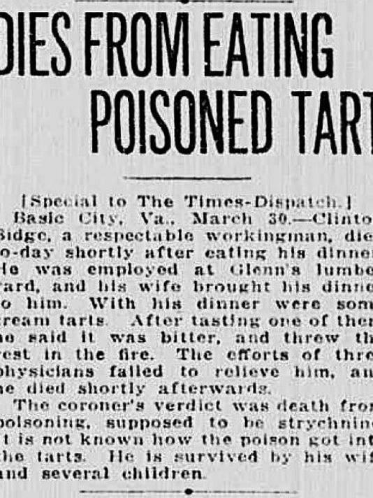 Basic City man poisoned 3-31-1913