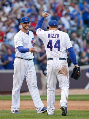 """""""It's just a great time for us to be in this organization,"""" says Kris Bryant, right, with fellow 25-and-under star Anthony Rizzo."""