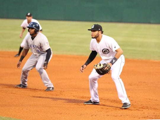 Jackson Generals first baseman Jordy Lara gets in defensive position Tuesday.