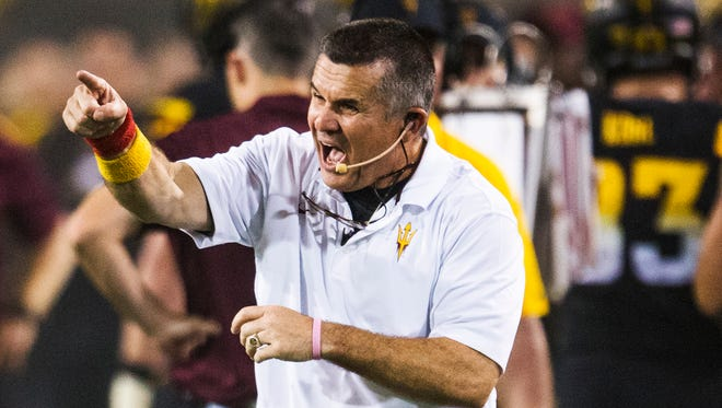 Arizona State coach Todd Graham yells at the defense during the fourth quarter against UCLA at Sun Devil Stadium in Tempe on Sept. 25, 2014.