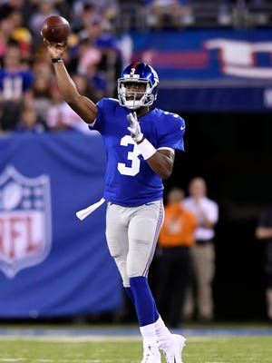 New York Giants quarterback Geno Smith (3) in the second quarter of the preseason game between the New York Giants and the Pittsburgh Steelers in East Rutherford, NJ on Friday, August 11, 2017.