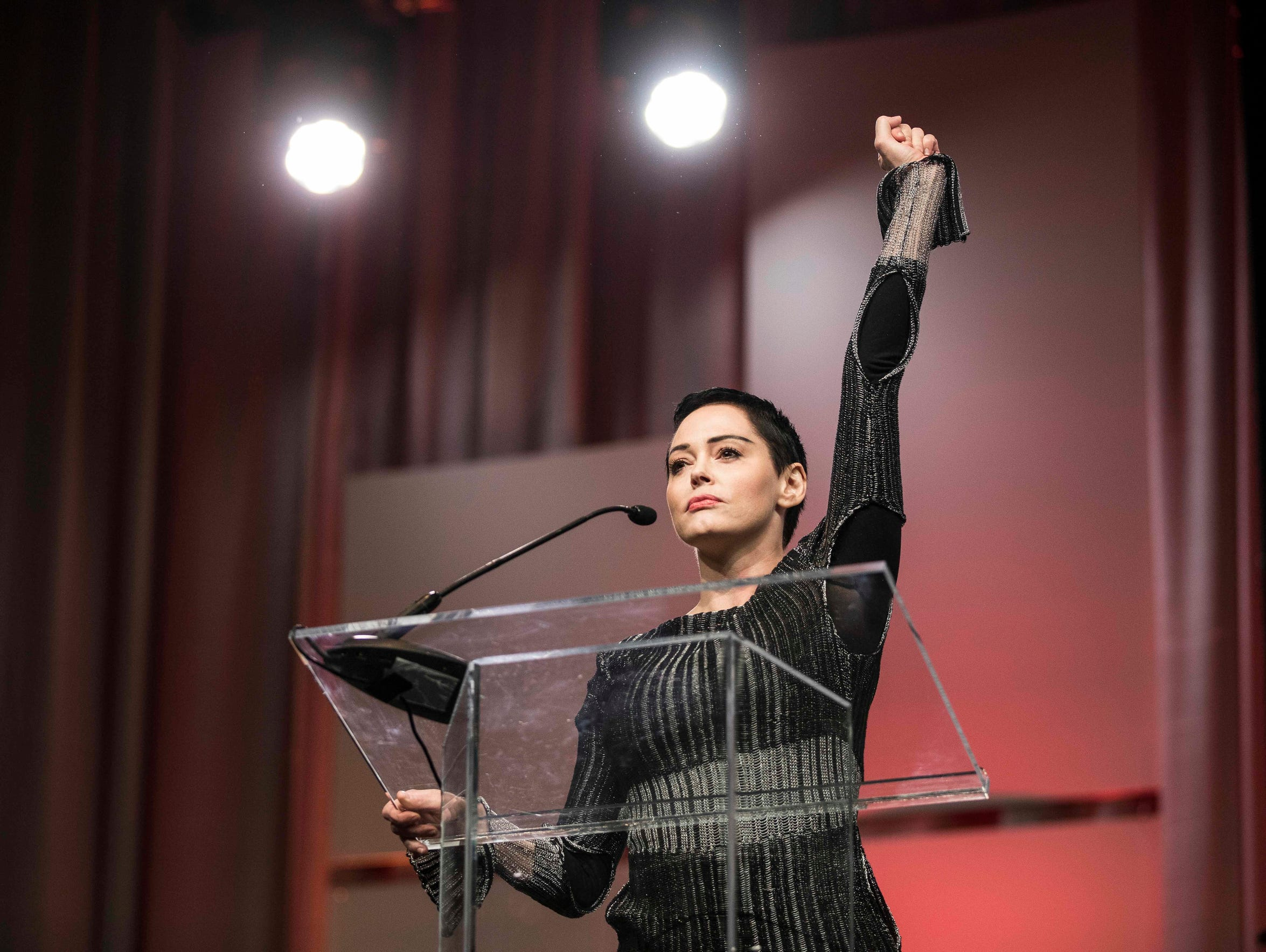 """""""We are all Me Toos. I have been silenced for 20 years,"""" Rose McGowan shouted, fist raised, in a fiery speech at the Women's Convention in Detroit. """"I have been slut-shamed. I've been harassed. I've been maligned … We are one massive collective voice, that is what #RoseArmy is all about."""""""