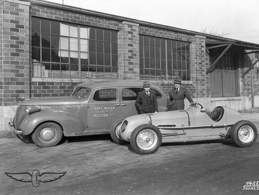 Driver Chet Miller and Mike Boyle pose with one a Maserati at Boyle Racing Garage, 1701 Gent St., in its heyday. Today the building is falling down.