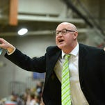 TRIBUNE FILE PHOTO/RION SANDERSCMR girls' coach Brian Crosby and the Rustlers met Kalispell Flathead Friday night at CMR. CMR coach Brian Crosby lets the referees know they missed a call during Thursday's game against Great Falls High.