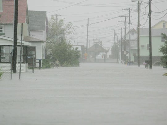 Hubbard Avenue in Bowers Beach floods as Superstorm Sandy hits Delaware on Oct. 29, 2012.