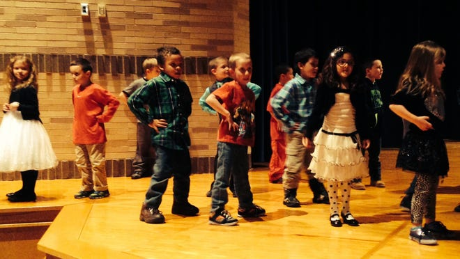The grand finale of the Bath First-Grade Thanksgiving program had the students teaching a clever dance to the audience.