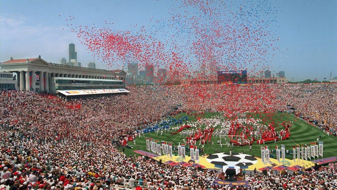 Soldier Field in Chicago hosting the opening ceremony for the 1994 World Cup.