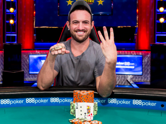 Joe Cada celebrates his third WSOP bracelet earlier