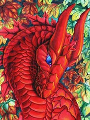 """Autumn's Passage"" is among the vivid dragon portraits"