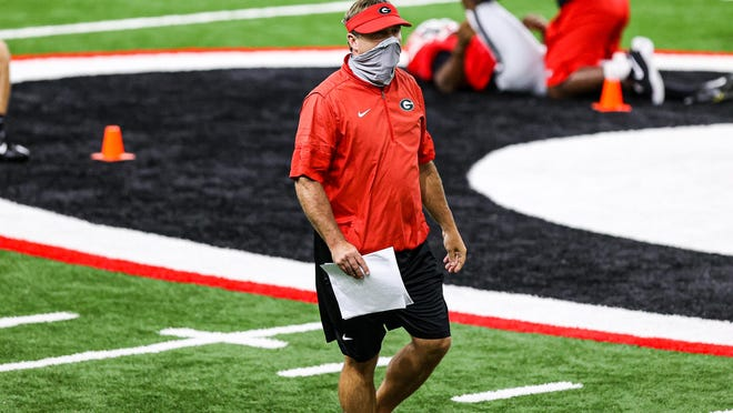 Georgia head coach Kirby Smart during the Bulldogs' practice in Athens, Ga., on Mon., Aug. 24, 2020.
