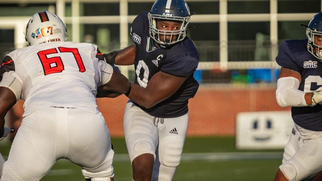 Georgia Southern defensive end Raymond Johnson III rushes to the ball in a game against the Campbell University Fighting Camels on Sept. 12 at Paulson Stadium in Statesboro.