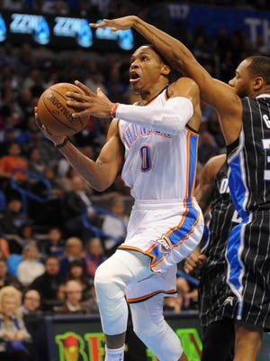 Russell Westbrook had 25 points, 14 assists and 11 rebounds for the Thunder.