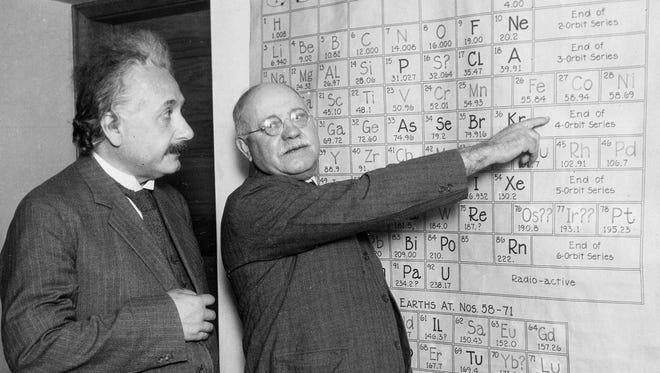 Albert Einstein with Dayton C. Miller at the Carnegie Institute.