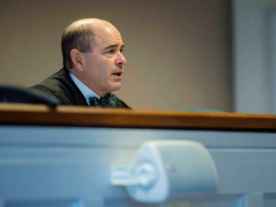 Judge Samuel Hoar speaks during a hearing in Vermont