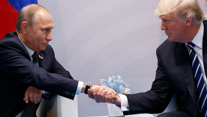 President Trump and Russian President Vladimir Putin in Hamburg, Germany, on July 7, 2017.