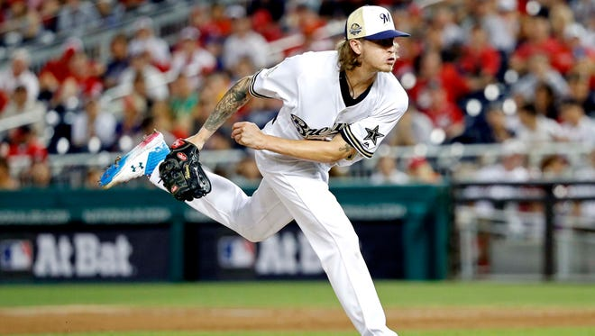 Jul 17, 2018: National League pitcher Josh Hader of the Milwaukee Brewers (71) pitches during the eighth inning against the American League in the 2018 MLB All Star Game at Nationals Ballpark.