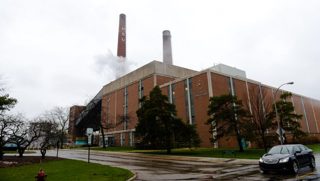 The T.B. Simon power plant on the campus of Michigan State University. MSU's power plant is named for Ted Simon, who worked at the university for more than four decades.