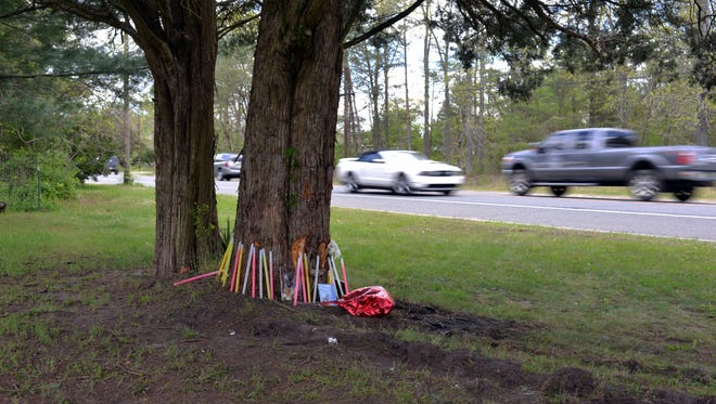 A memorial has been placed at the base of tree beside Route 49 in Maurice River after a car hit it early Saturday.  Killed in the crash were the 17-year-old driver Daisaia Sulton and a 15-year-old passenger Mikayla Mosley, according to State Police.