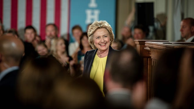Hillary Clinton speaks at the Old State House on July 13, 2016, in Springfield, Ill.