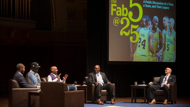 Fab Five players discuss the team and their legacy at Hill Auditorium on Saturday.