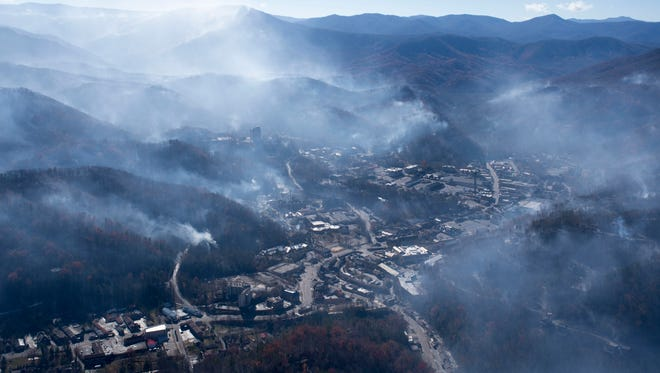 An aerial view shows Gatlinburg the day after a wildfire hit the city on Tuesday, Nov. 29, 2016, in Sevier County.  (PAUL EFIRD/NEWS SENTINEL)