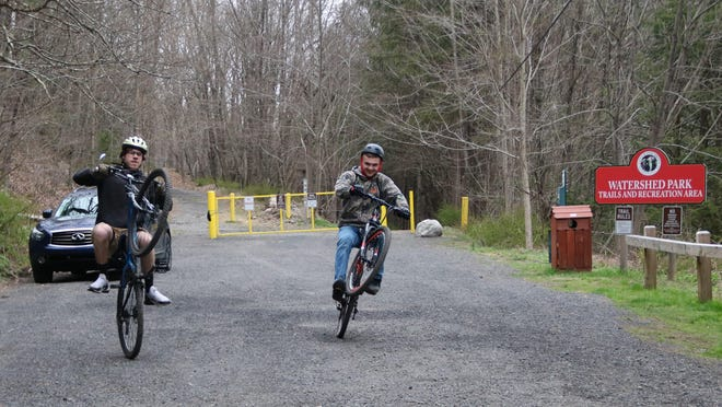 Nick Christensen and Caleb Conklin come from Pennsylvania to ride the watershed trails in Port Jervis.